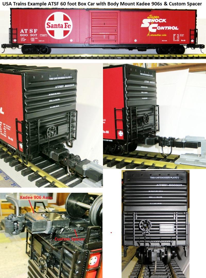 Example ATSF USAT 60 foot box car with Kadee 906