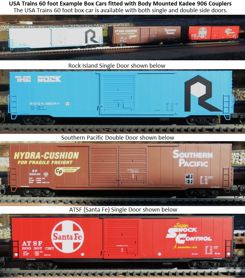 USAT 3 example 60 foot box cars On Outdoor Layout